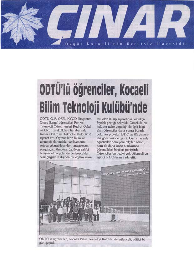 , ODTÜ'lü öğrenciler Kocaeli Bilim Kulübü'nde…