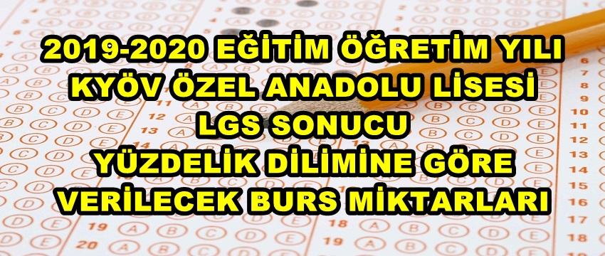 , KYÖV Özel Anadolu Lisesi 2019-2020 Burs Miktarları