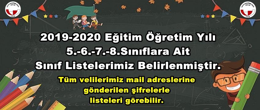 , 2019-2020 Eğitim Öğretim Yılı Ortaokul Sınıf Listeleri…