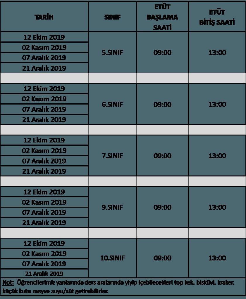 , 2019-2020 Eğitim-Öğretim Yılı Etüt Takvimi…