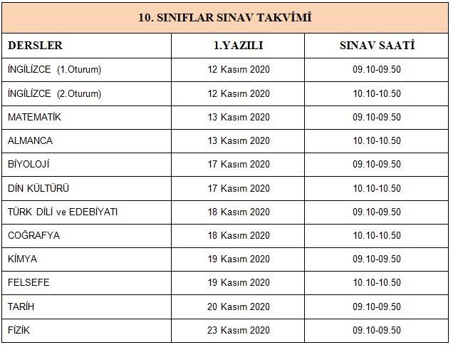 , Sınav Takvimi